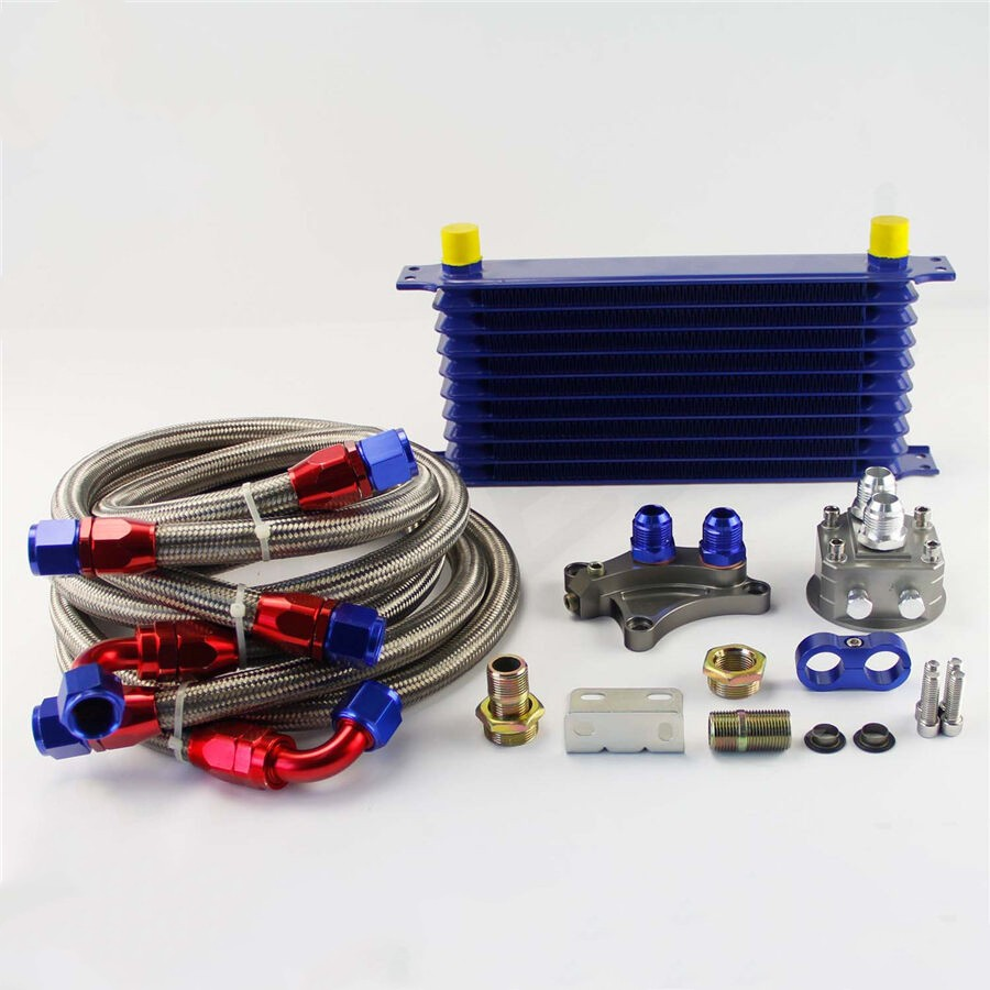 10 ROW OIL COOLER KIT FOR NISSAN Silvia S13 S14 S15 180SX 200SX 240SX SR20DET