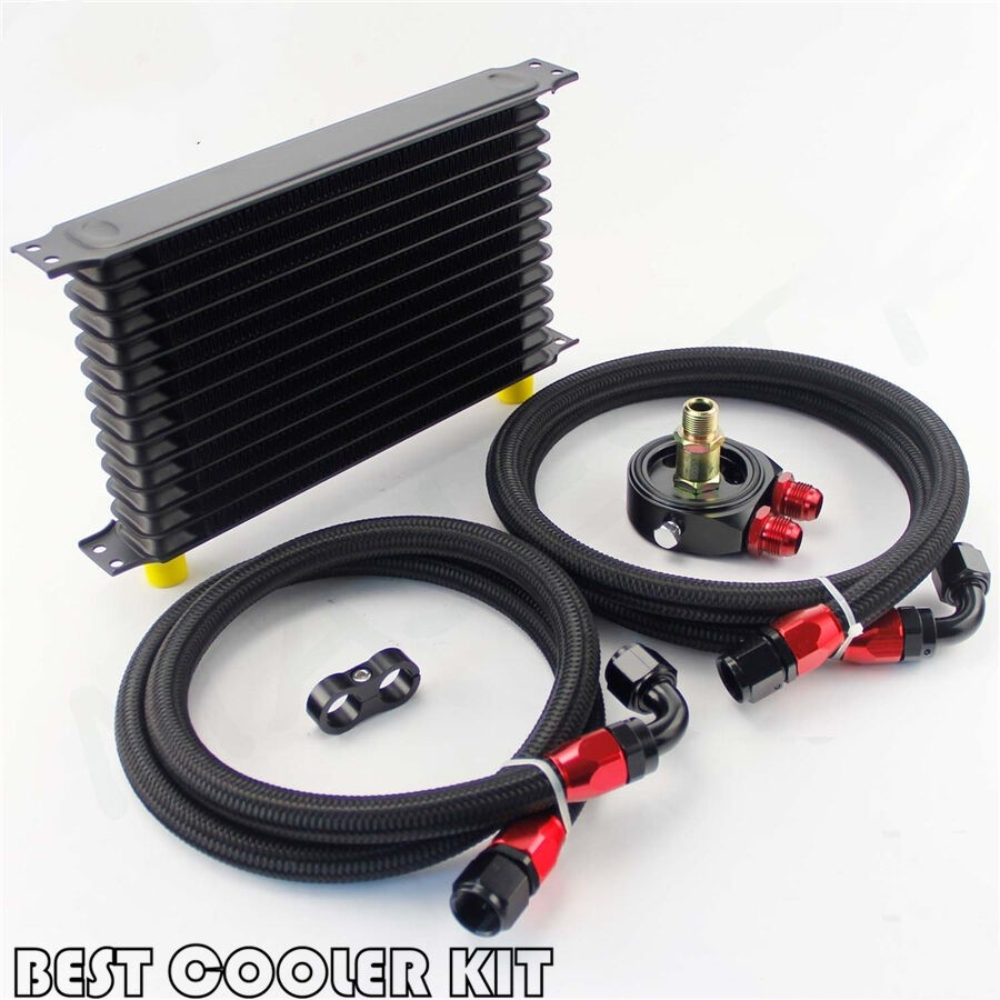 13 Row AN10 Trust Oil Cooler Filter Adapter Kit For Toyota Subaru Honda Civic